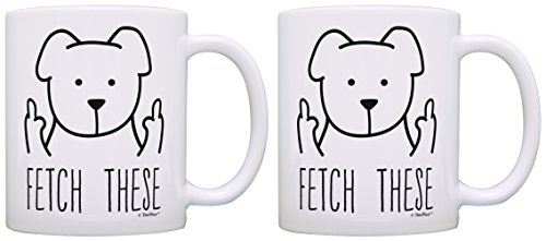 Dog Lover Mug for Men Fetch These Funny Dog Mug Middle Finger Funy Dog Gifts for Dogs 2 Pack Gift Coffee Mugs Tea Cups White