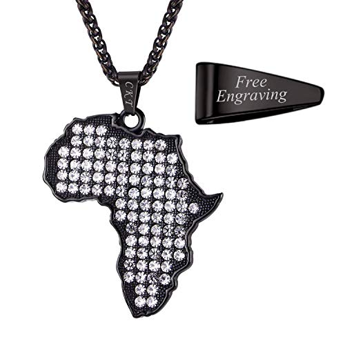 U7 Rhinestone Crystal Pendant with 22 Inch Chain Hip Hop Jewelry Black Gun Plated Africa Map Necklace, Custom Engrave on Pendant - Pendant Loop