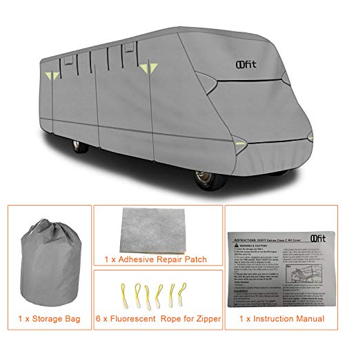 OOFIT Extra-Thick 4-ply Class C Motorhome RV Cover, Fits 29' - 32' RVs, Breathable Weather-Proof, Anti-UV Motorhome Cover with Adhesive Repair Patch, Entrance Zippers & Storage Bag by OOFIT (Image #4)