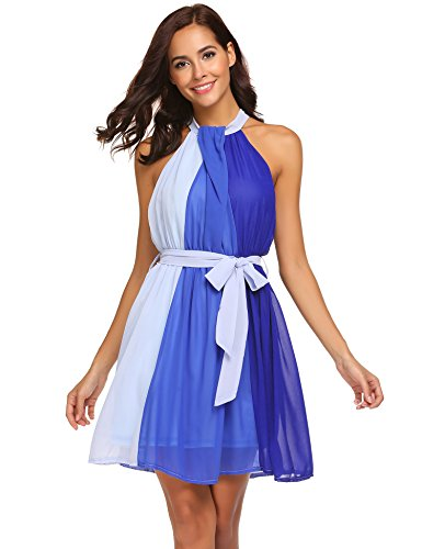 - Wildtrest Women's Sleeveless Color Block A-Line Chiffon Party Dress with Belt Blue L
