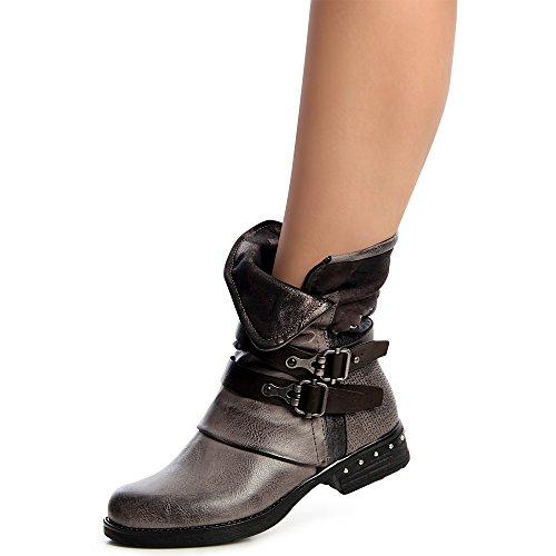 topschuhe24 1296 Damen Worker Boots Stiefeletten Schnürer Nieten Schwarz