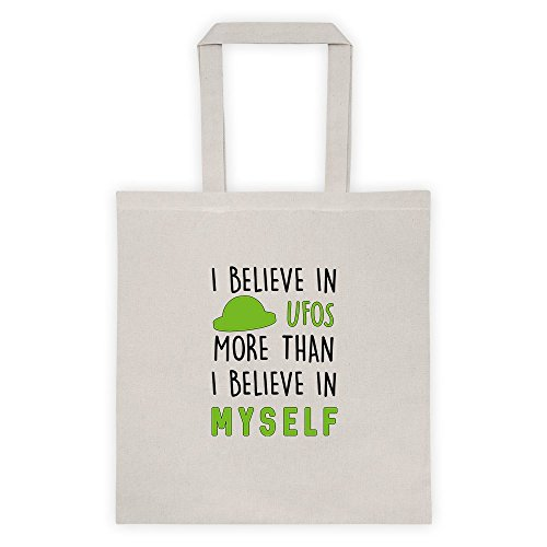 I Believe In UFOs More Than I Believe In Myself Cool Funny Message Outdoor Humor Grocery Shopping Tote - Livingston Shopping In
