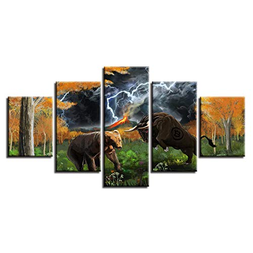 Dskin Large Home Canvas Wall Art Paintings Sets 5 Piece Multi Panel Framed Structure Living Room Bedroom Panoramic Print Wall Decor Pictures Animal Bear Bull Lightning Abstract Scenery -200x100CM