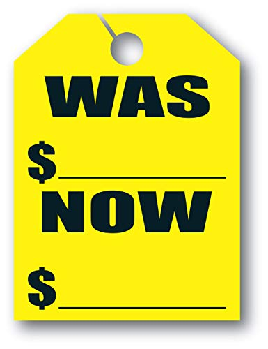 """Mirror Hang Tags - Fl Yellow -""""was Now"""" - 8 1/2ʺW x 11 1/2ʺL - Pack of 50"""