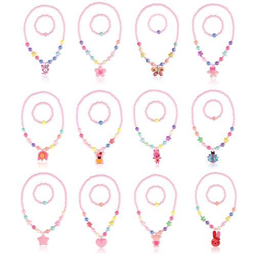 KANKANWO 12Sets Little Girl Princess Party Necklace & Bracelet Jewelry Value Pack