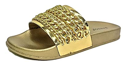 Bamboo Cozy-08S Flip Flop Gold Chain Link Slide Slip On Flat Sandal Metallic Mirror Gold