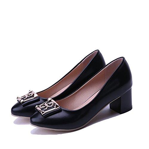AgooLar Damen Spitz Zehe Ziehen auf PU Eingelegt Mittler Absatz Pumps Schuhe, Silber, 33