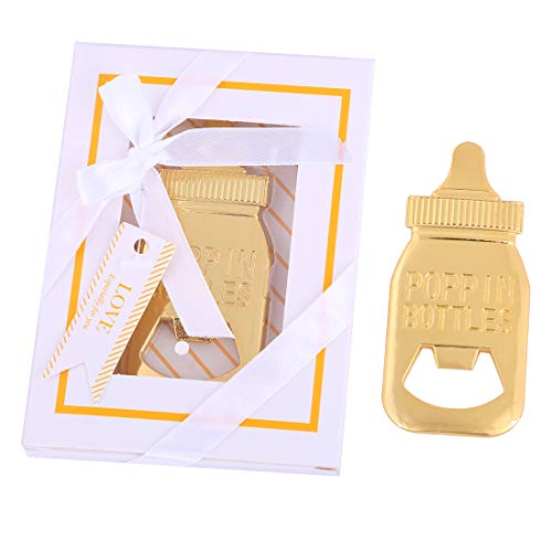 (Pack of 24 Baby Shower Return Gifts for Guest Supplies Poppin Baby Bottle Shaped Bottle Opener Wedding Party Souvenirs Decorations with Exquisite Packaging by WeddParty (White box) (Baby Bottle 24Pcs))