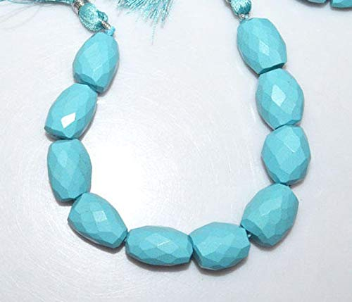 (Gems-World Jewelry 1 Strand Howlite Turquoise Faceted Nuggets Briolette - Turquoise Faceted Tumble, Barrel Shape Nugget, 12x17-19x23 mm, 7