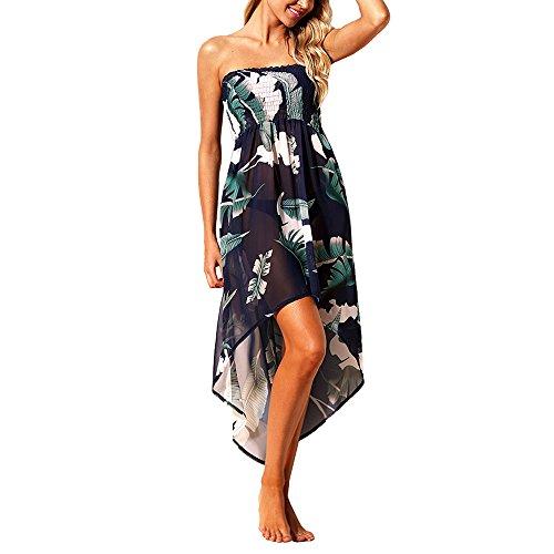 (Eiffel Women's Boho Chiffon Off Shoulder Vacation Holiday Summer Beach Long Maxi Dress Swimwear (Small, Green Leaf Print))