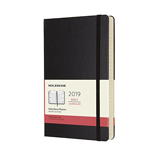 """Moleskine Classic Hard Cover 2019 12 Month Daily Planner, Large (5"""" x 8.25"""") Black - Daily Planner & Appointment Book for Organizing, College, Hourly Planning"""
