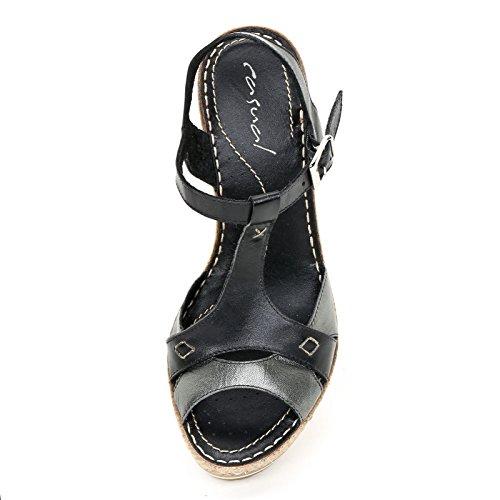 Marina Seval by Scarpe&Scarpe - Schuhe mit Keilabsatz und Riemchen Am Knöchel, Leder, mit Absätzen 11 cm - 35,0, Schwarz