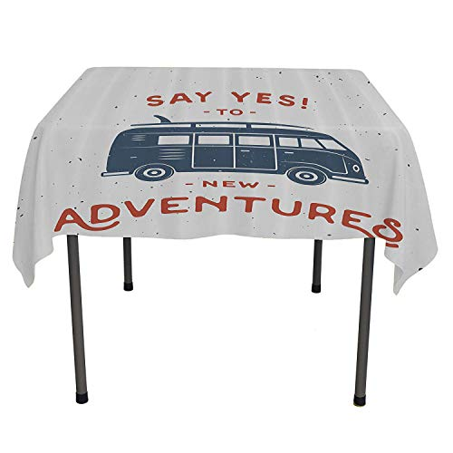 - All of better Vintage Decor Outdoor Picnics New Adventures Typography with Little Van Hippie Style Life Free Spirit Design Cadet Blue White Summer tabel Cloth Spring/Summer/Party/Picnic 54 by 54