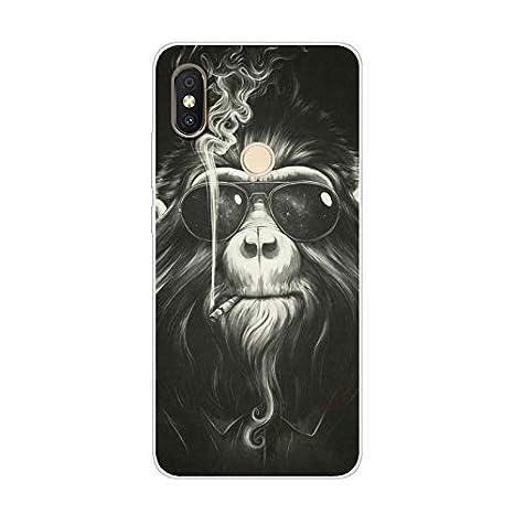 Aksuo Funda For Xiaomi Redmi S2 , TPU Anti-Rasguño Anti-Golpes Cover Protectora Transparente Claro Caso Slim Silicona Case - Mono Orangutan con Gafas ...