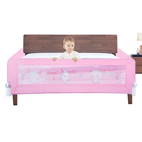 KingSaid Folding Baby Child Toddler Bed Rail Safety Protection Guard Pink 180x64cm