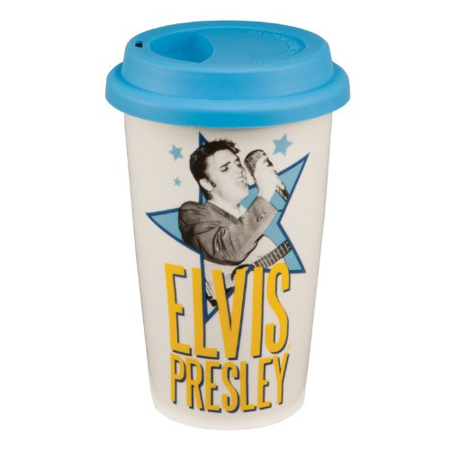 Vandor 47551 Elvis Presley 12 oz Double Wall Ceramic Travel Mug with Silicone Lid, White, Blue, Black, and Yellow