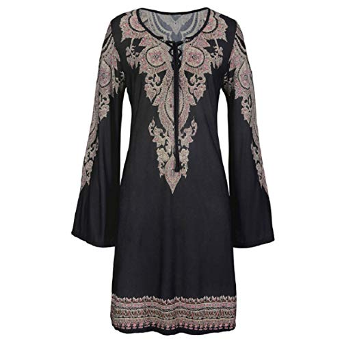 Women Long Sleeve Floral Print Mini Dress Front Lace up Casual Dress Summer Floral Print Dress by Lowprofile Black -