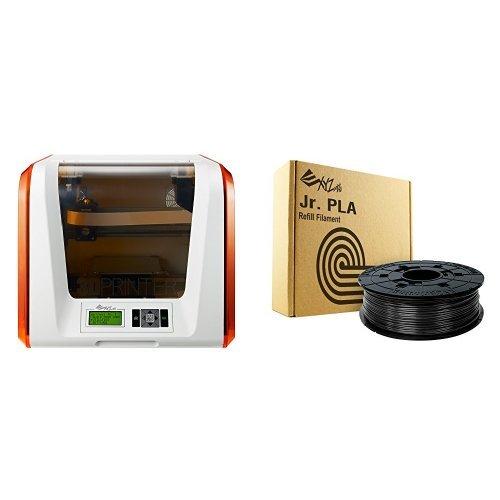 XYZprinting da Vinci Jr. 1.0 3D Printer and RFPLCXUS01A Da Vinci Junior Filament, PLA (NFC), 600 g, Black bundle Printers