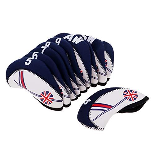 SM SunniMix 10pcs Neoprene Golf Club Headcover Wedge Iron Cover Protactive The UK Flag - Beige+Dark Blue, 14cmx6.1cm