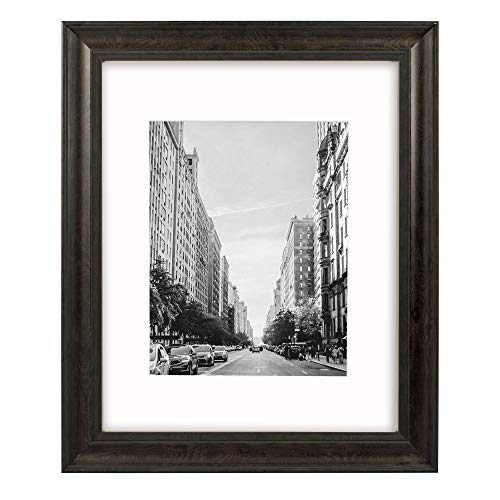 (Golden State Art, 16x20 Wood Grain Finish Photo Frame, Black Border, 2-inch Width molding, with Ivory Mat for 11x14 Picture & Real Glass)