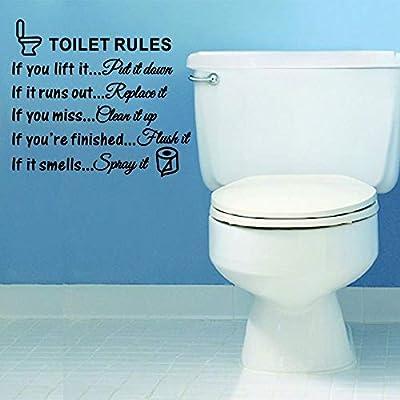 ?? Yu2d ?? DIY Toilet Rules Bathroom Toilet Wall Sticker Vinyl Art Decals Home Decoration