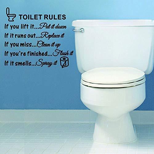 ❤️ Yu2d ❤️ DIY Toilet Rules Bathroom Toilet Wall Sticker Vinyl Art Decals Home Decoration