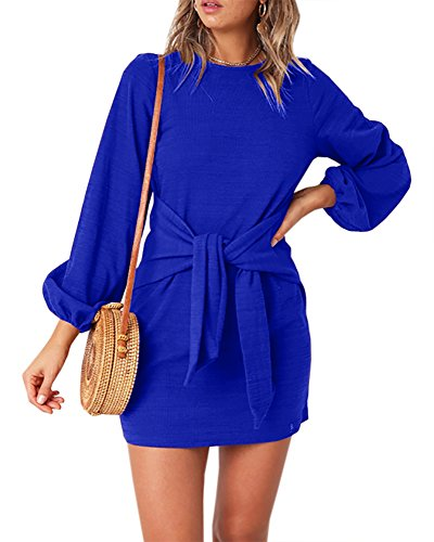Imily Bela Womens Tie Knot Front Bubble Sleeve Solid Crew Neck Loose Mini Dresses
