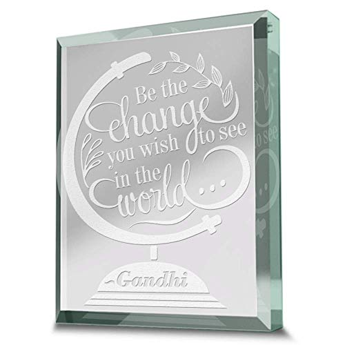 Bella Busta- Be the Change you Wish to see in the World (Gandhi)-Engraved Paperweight Real Glass Keepsake -Graduation Gift -Motivational gifts