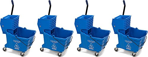 Carlisle 3690414 Commercial Mop Bucket With Side Press Wringer, 35 Quart Capacity, Blue (4-(35 Quart Capacity)) by Carlisle