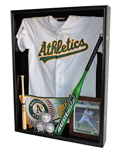 Extra Deep Jacket, Uniform, Jersey Shadow Box Display Case Cabinet (Black)