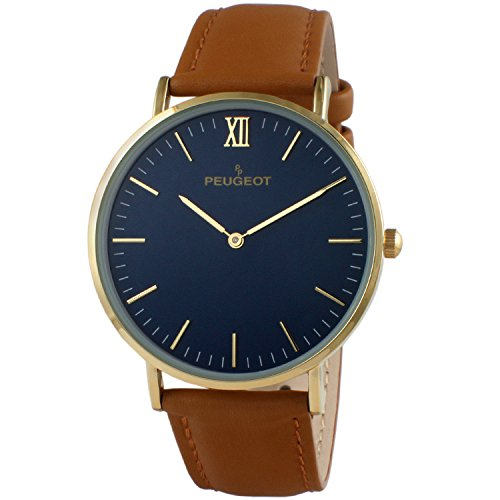 Peugeot Men's '14K Gold Plated' Quartz Metal and Leather Casual Watch, Color:Brown (Model: - Urban Outfitters Aviators