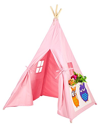 Kids Teepee Portable Play Tent Canvas Playhouse By Lubber owl (Teepee Diy)