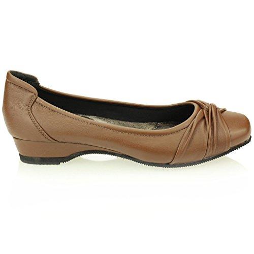 Tacón Mujer Confort Bombas Zapatos Tamaño Ballerina Cuña Marrón Marrón Negro Señoras Noche Casual WCtXrfqX