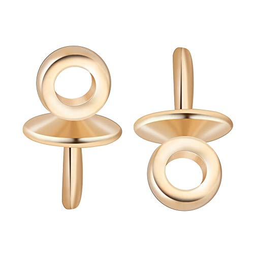 BENECREAT 20 PCS 18k Gold Plated Eye Pin Bails Pearl Pendant Connector for Half-drilled Beads Charms Jewelry Making