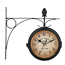 NOBLJX Vintage Double Sided Wall Clock 360° Rotate Paddington Station Quartz Wall Watch with Waterproof Cover Premium Metal Materials for Indoor Outdoor Hanging Décor