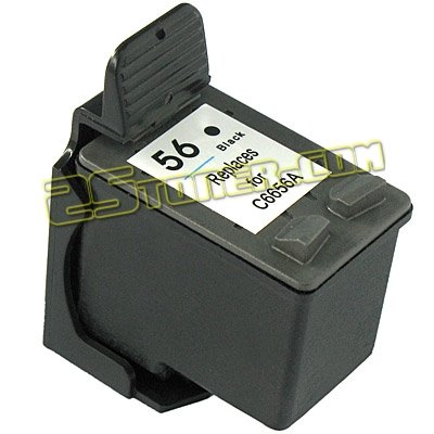 INKUTEN Hewlett Packard C6656AN / C6656A (HP 56 Black) HP56 Replacement Ink Cartridge (Inkjet C6656a 56 Black Cartridge)