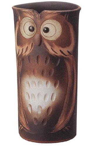 信楽焼陶器 傘立 コゲ釉ふくろう彫傘立 高さ46.5cm 7122-04 B00D0JSR58