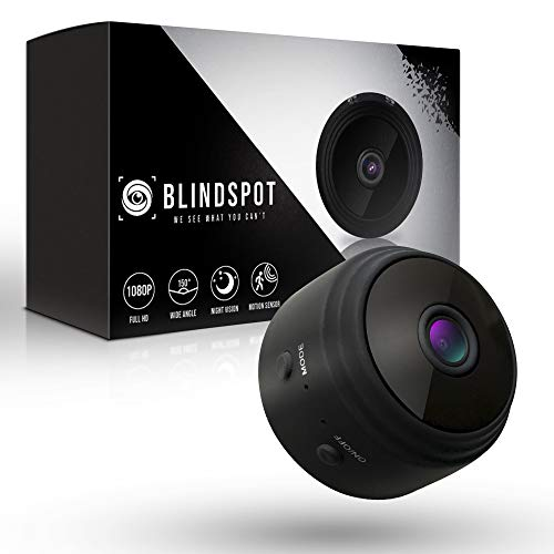 BLINDSPOT Spy Camera Wireless Hidden Home Protection Mini Camera | Portable Security Hidden Camera with 150° Lens, Motion Sensor, Night Vision & HD 1080p Recording WiFi Nanny Cam [2019 Upgraded -