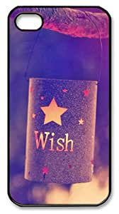 Stylish and Protective Case for iPhone 4/4s Cases - Quotes Wish Lights Polycarbonate Case Cover for iPhone 4/4S - Black
