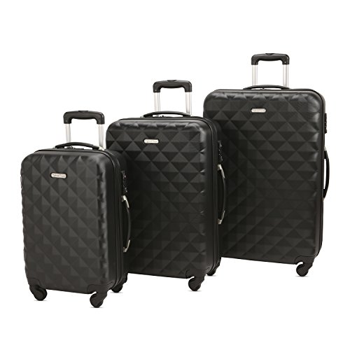 3 Piece Luggage Set Durable Lightweight Hard Case Spinner Suitecase LUG3 SS577A BLACK BLACK by HyBrid & Company
