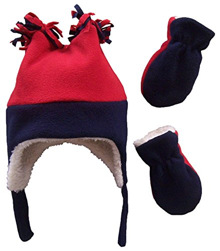 N'Ice Caps Boys Sherpa Lined Micro Fleece Four Corner Ski Hat and Mitten Set (3-6 Months, Navy/Red - Infant)