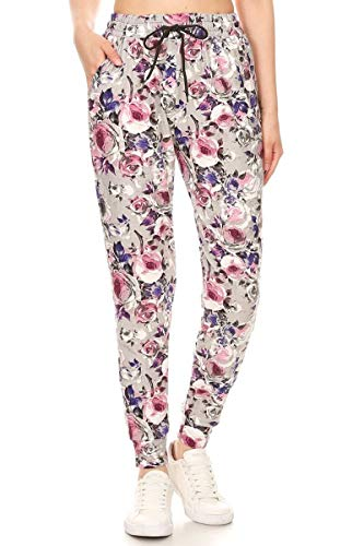Leggings Depot JGA-R662-L Cherish Rose Print Jogger Pants w/Pockets, Large