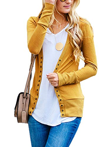 JNTOP Women's Women's V-Neck Long Sleeve Soft Basic Knit Snap Cardigan Mustard 1X-Large ()