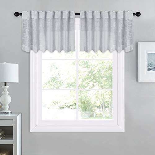 NICETOWN Linen Textured Sheer Tiers - Semi-Transparent Privacy Soft Voile Window Rod Pocket & Back Tab Valances for Kitchen/Dining Room/Cafe/Loft, 52
