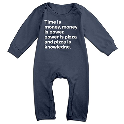 Sexy Pizza Costume (Baby Infant Romper Time Money Power Pizza Knowledge Long Sleeve Jumpsuit Costume Navy 12 Months)