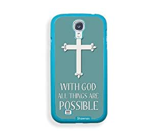 Shawnex Christian Cross Quote ThinShell Protective Aqua Plastic Samsung Galaxy S4 Case - Galaxy i9500 Case Snap On Case