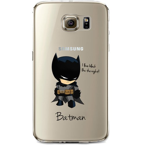 Batman, Catwoman, Harley Quinn, Wonder Woman, Superman, Spider Man, The Hulk, Deadpool Jelly Clear Case for Samsung Galaxy S6 (Batman)