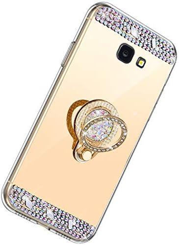 Herbests Kompatibel mit Samsung Galaxy J4 Plus 2018 Hülle Glitzer Kristall Strass Diamant Silikon Handyhülle mit Ring Halter Ständer Schutzhülle Überzug Spiegel Clear View Handytasche,Gold