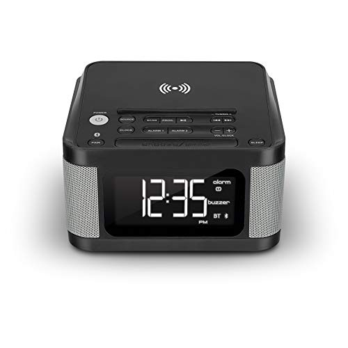 ooth Alarm Clock Radio with Charging Pad, 6.1 x 6.1 x 3.7 Inches, Includes Fast Charge AC/DC Power Adapter, Black (ICQ988B) (Ge Range Electronic Clock)