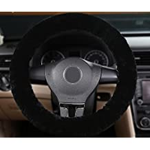 Okayda Faux Wool High-elastic Steering Wheel Cover Fits Tight on Wheel Warm Hands in Winter, Absorb Hand Sweat in Summer, Lightweight Steering Wheel Covers Black